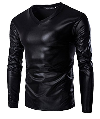 Black Leather Shirt - Seastar Men's Leather Like Long Sleeve Undershirt Muscle Shirt, Black, Size XXL (Fit Chest 41.7' )
