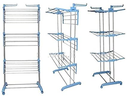 Italish Stainless Steel Heavy Duty 3 Layer Clothes Drying Rack Stand