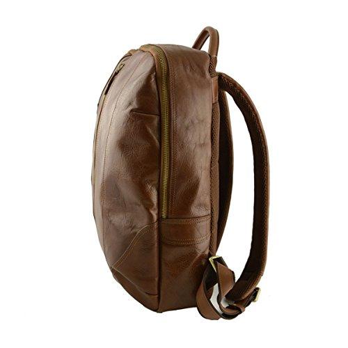 7f7c05bacee6d Rucksack Aus Echtem Leder Farbe Braun - Italienische Lederwaren - Rucksack  ...