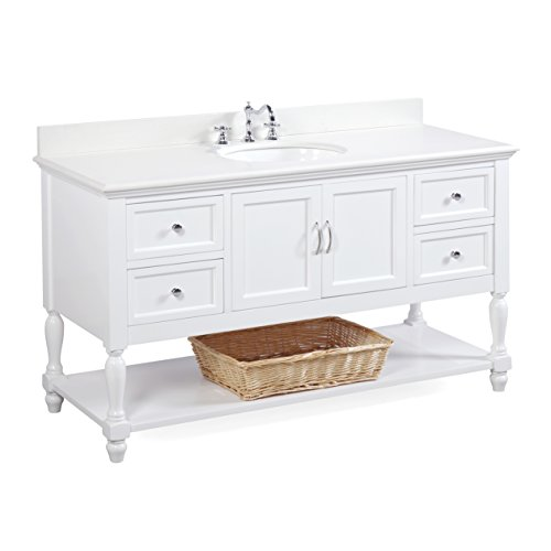 Beverly 60-inch Single Sink Bathroom Vanity (Quartz/White): Includes a White Cabinet with Soft Close Drawers, White Quartz Countertop, and White Ceramic Sink (60 Inch Bathroom Vanity Single Sink White)