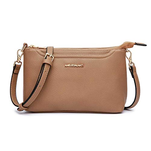 Crossbody Bags for Women, Lightweight Purses and Handbags PU Leather Small Shoulder Bag Satchel with Adjustable Strap (SAND) (Main Mall)