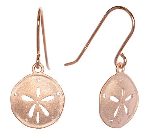 - Rose Gold Plated Sterling Silver CZ Matte Finish Sand Dollar Dangling Hook Earrings