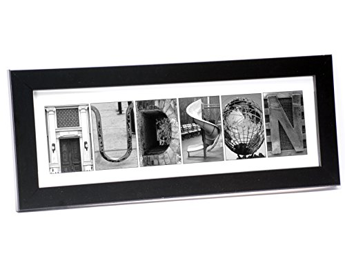 Creative Letter Art - Personalized Framed Name Sign with Black & White Architectural Metal Alphabet Photographs including Black Self Standing Frame