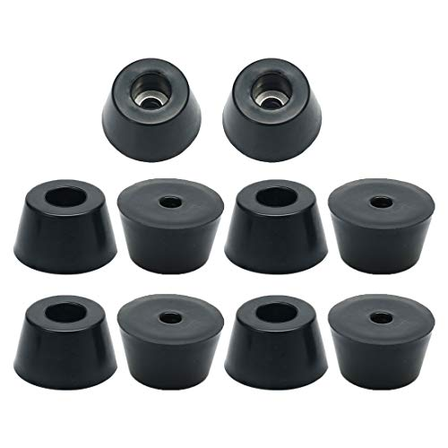 10 Pcs 21mm x 12mm Conical Recessed Rubber Feet Bumpers Pads Black