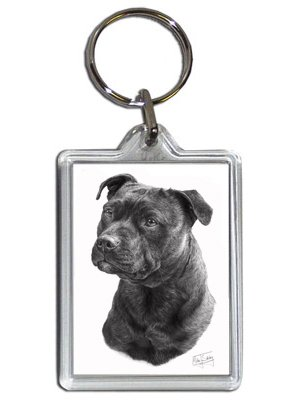 Mike Sibley Staffordshire Bull Terrier Quality Acrylic Keyring 50mm x 35mm-Gift