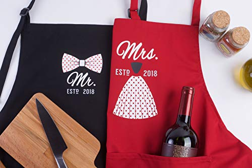 Mr Mrs Anniversary Apron Gift - Year 2018 - Man and Women 2 Piece Set - Perfect for engagements, weddings, happy anniversaries, bridal showers, valentines day by 2MU by 2MU (Image #5)