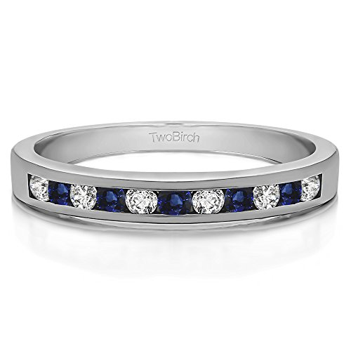 Silver Anniversary Band Diamonds (G-H,I2-I3) and Sapphire(0.11Ct)Size 3 To 15 in 1/4 Size Intervals