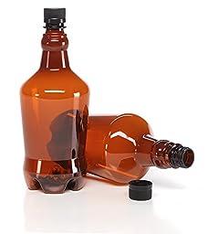 32 oz Amber Plastic Beer or Beverage Growler - 6 Pack of Bottles & Caps