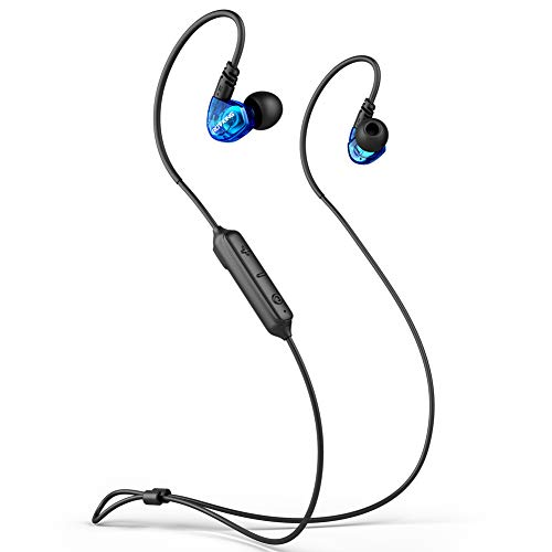 ROVKING Ear Buds Wireless Headphones 5.0 Bluetooth Earbuds with Mic, IPX5 Sweatproof Sports Headset for Running Gym Workout, Earphones for Cell Phones Laptop TV, Low Latency in Ear Monitor 10H Blue