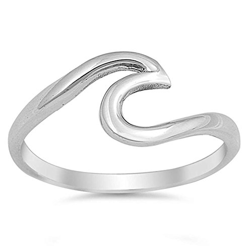 (Oxford Diamond Co Solid Sterling Silver Wave Design Ring Size 5)