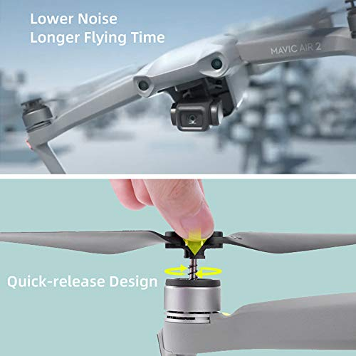 Globact 4 Pcs 7238 Propellers Low-Noise Quick Release Props for DJI Mavic air 2 RC Drone (Silver, 2 Pairs)
