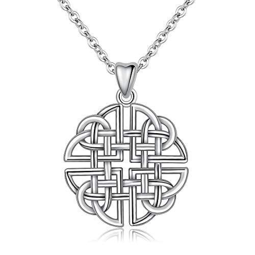 (INFUSEU Irish Dara Celtic Knot Pendant Necklace 925 Sterling Silver Jewelry for Women)