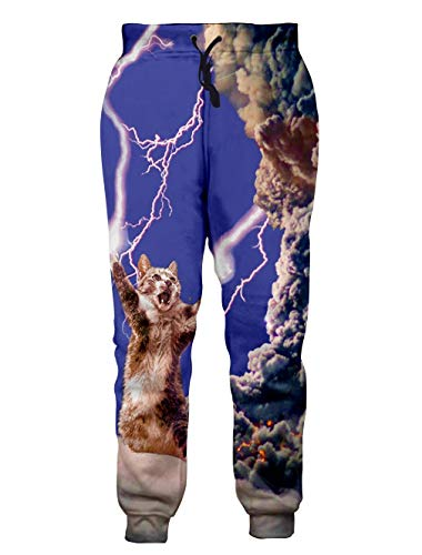 Loveternal 90s Sweatpants for Men 3D Print Lightning Grumpy Cat Unisex Hip-Hop Pants Purple Baggy Workout Joggers Unisex Running Sweatpants Tracksuit XL