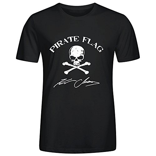 [Kenny Chesney Pirate Flag Mens Funny t shirts Crew Neck Black] (Kenny Chesney T-shirt)