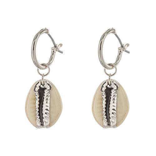 Columbus Rhodium Plated Huggie Hoop Earrings - Cowry Shell Charm Huggie Earrings - Seashell Huggies (Silver Cowry -