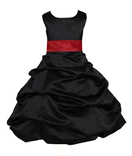 ekidsbridal Black Satin Pick-Up Bubble Flower Girl Dresses Pageant Dress 806S 8