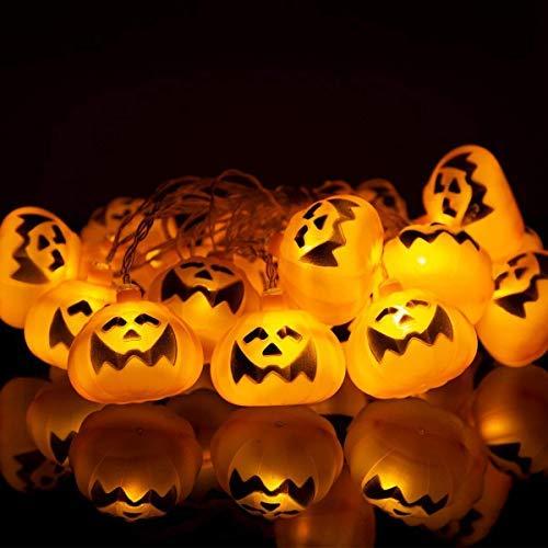 Pumpkin Light Led, 20 Led 6.9 Ft Halloween Pumpkin String Light Battery, Halloween Fairy Decoration Light JackOLantern, Halloween Garland Holiday Party Hanging Light for Indoor Outdoor Yard-Orang