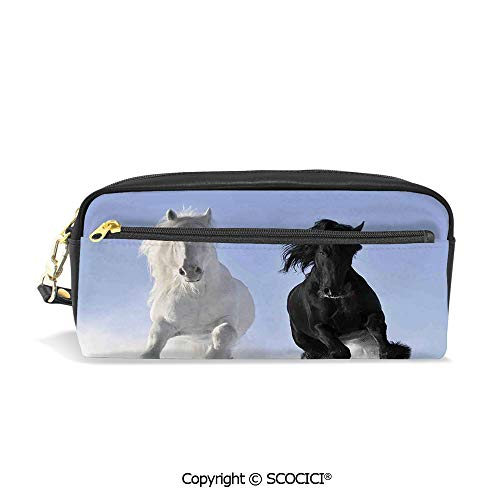 Fasion Pencil Case Big Capacity Pencil Bag Makeup Pen Pouch Competing Racing Black and White Horses on Snow Good and Evil Mythical Symbolic Creatures Durable Students Stationery Pen Holder for