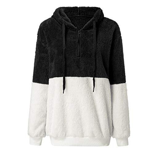 [해외]Msaikric Long Sleeve Autumn Womens Blouse Color Matching Drawstring Sweater Plush Tops / Msaikric Long Sleeve Autumn Womens Blouse Color Matching Drawstring Sweater Plush Tops Black