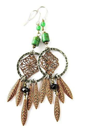 Bohemian Style Copper Leaf and Filigree Hoop Dream Catcher Chandelier Earrings