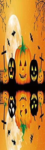 Halloween Decorations 3D Decorative Film Privacy Window Film No Glue,Frosted Film Decorative,Spooky Carved Halloween Pumpkin Full Moon with Bats and Grave Lake,for Home&Office,23.6x70.8Inch Orange Bla -