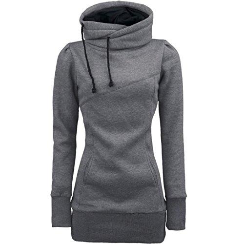 Switchali Damen Mode Frauen lösen Pullover T-Shirt Langarm Bluse (L, Grau)