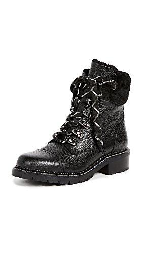 FRYE Women's Samantha Hiker Combat Boot Black Waxed Pebbled Leather/Shearling