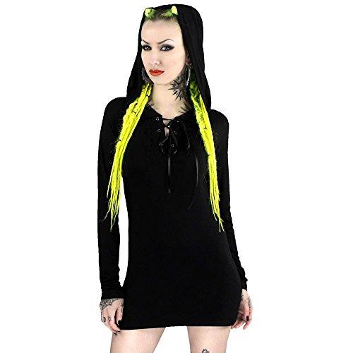 Kill Star–Vestido gótico Capucha para/Long Camiseta Manga Larga–Nightwish Hood Mini vestido/Manga Larga con Capucha