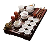 ufengke Exquisite Oriental Ceramic Porcelain Kung Fu Tea Cup Set With Wooden Tea Tray, Chinese Tea Service, Home And Office Use, White And Red