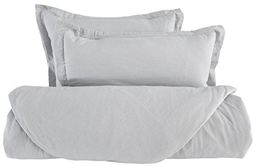 PHF Linen Cotton Duvet Cover Set 50% linen 50% Cotton Solid Color 3 Piece Queen Size Light - Cushion 3 Body Systems Piece