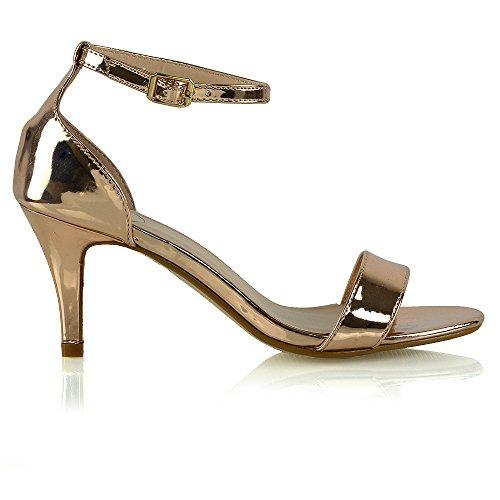 Rosa Alla Sandalo Tacco Toe Sintetico Basso Caviglia Donna Oro Stiletto Cinturino Peep Metallizzato Glam Essex CwqSz7n