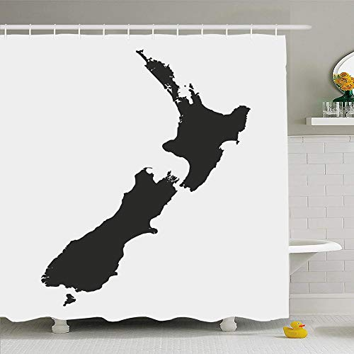 Ahawoso Shower Curtain Set with Hooks 72x72 Australia Map New Zealand White Nation Travel Abstract Black Border World Cartography Chart City Waterproof Polyester Fabric Bath Decor for Bathroom (Outline Map Of Oceania Australia And New Zealand)