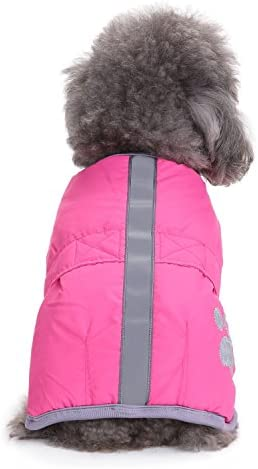 Cozy Windproof Cold Weather Pet Autume Jacket Paw Print Dog Coats for Small Medium Dogs Reversible Dog Winter Coat Refecting Brime Magic Sticker Adjustable Doggie Winter Apparel Warm Clothes
