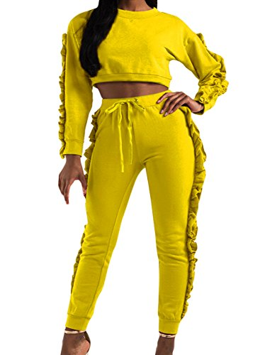 Salimdy Women's 2 Pieces Jumpsuit Outfits Ruffle Sleeve Crop Top and Pants Sweatsuits Tracksuits Yellow l