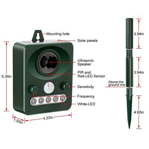 Wonninek Solar Ultrasonic Repellent LED Light, Pest Repeller with Sensor, Outdoor Cats, Dogs, Skunks,