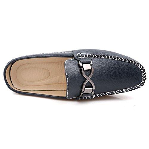 Pantofoline In Pelle Santimon Mens Fibbia Slip On Mocassini Per Il Tempo Libero Mocassini Blu