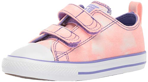 (Converse Girls Infant Chuck Taylor All Star 2V Tie-Dye Low Top Sneaker, Bleached Coral/Wild Lilac, 8 M US Toddler )