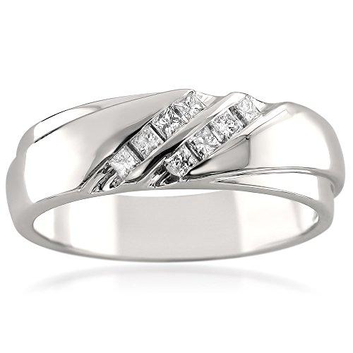 14k White Gold Double Row Princess-cut Diamond Men's Wedding Band Ring (1/4 cttw, I-J, I1-I2), Size 10 ()