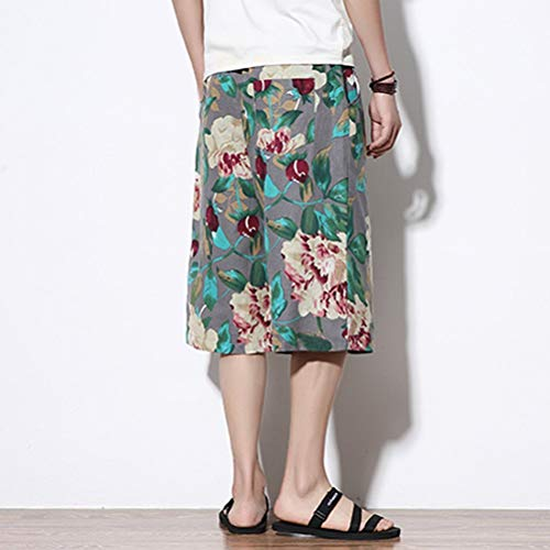 Donna Aladdin Linen Larghi Hippie Pantaloni Bloomers Abbigliamento Harem Festivo Spiaggia Uomo Short Traspirante Boho Grigio Fancy 7FxaXawq