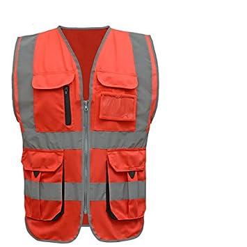 340fbadded3 ZHFC-Chaleco reflectante, en construcción, seguridad, carreteras,  saneamiento, prendas de