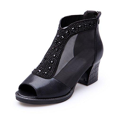 en grandes delgado de código mujer zapatos verano de atrevidos el mujer de con zapatos negro neto alto zapatos hilados gráficos número chica Un gran con 1 talón el 116 qRBw0
