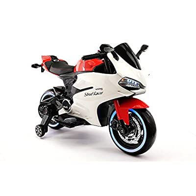 2020 Street Racer 12V Electric Kids Ride-On Motorcycle | Red: Toys & Games