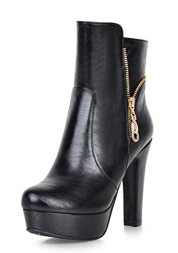 Aisun Femmes Élégant Bout Arrondi Double Côté Glissière Robe Plate-forme Bottillons Chunky Haut Talon Cheville Bottes Chaussures Noir