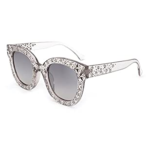 ROYAL GIRL Cat Eye Sunglasses For Women Fashion Designer Acetate Frame With Star Crystal Silver Mirrored Lens