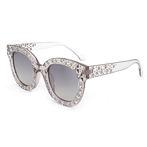 ROYAL GIRL Cat Eye Sunglasses For Women Fashion Designer Acetate Frame With Star Crystal Silver Mirrored - Shaped Cat Glasses Eye