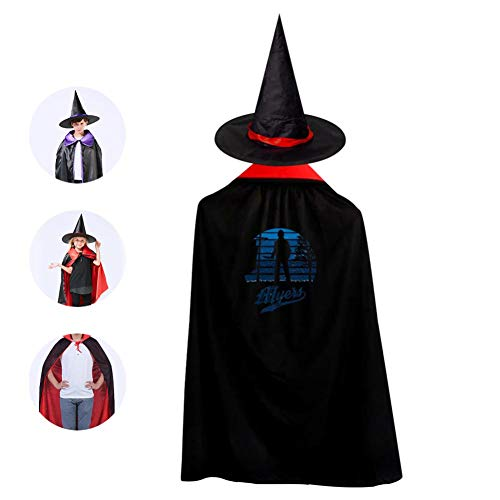 Originality Kids Cape Halloween Costumes Reversible Cloak with Wizard Hat Red -