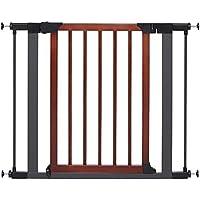 Steel Pet Gate w/ Textured Graphite Frame & Decorative Wood Door, 29H x 28-38W Inches