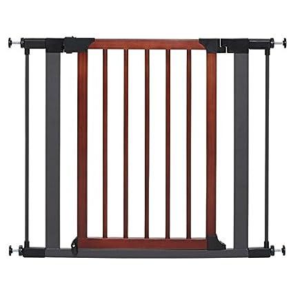 Steel Pet Gate w/Textured Graphite Frame & Decorative Wood Door, 29H ...