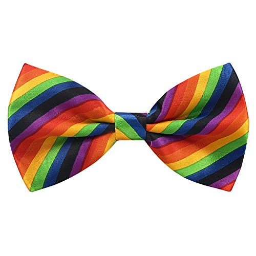 Rainbow Bow Tie for Clown Costume Rainbow Pride Bowtie Striped Men Women -