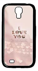 Samsung Galaxy S4 I9500 Black Hard Case - Pink I Love You Galaxy S4 Cases